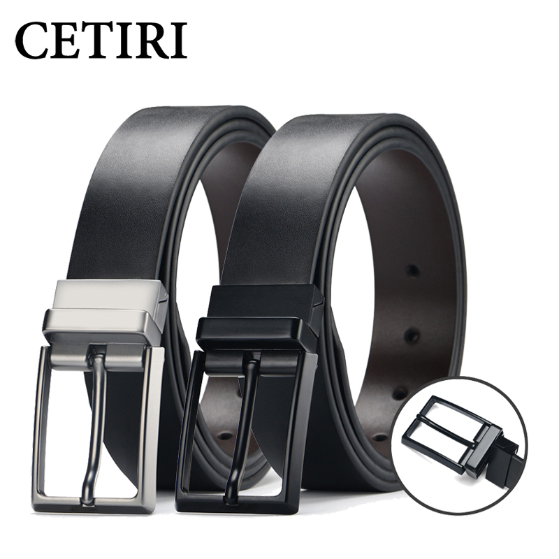 CETIRI Designer Fine Men's Dress   Belt   Leather Reversible 3.5cm Wide Rotated Buckle Genuine Leather   Belt   Strap For Men Jeans