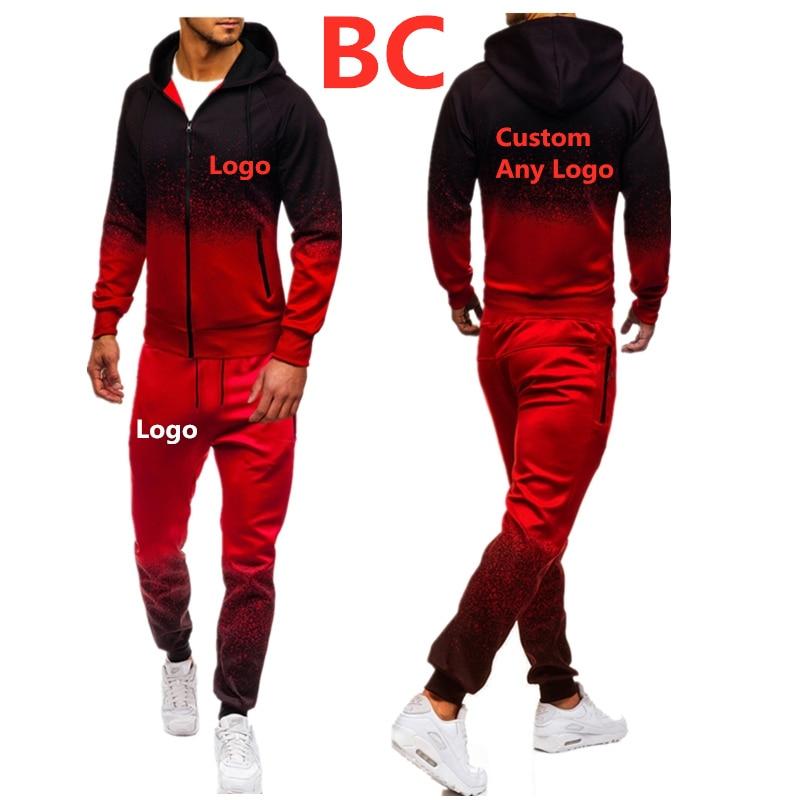 BC Men's Custom Any Logo Autumn Spring Sporting Suit Sweatpants Brand Car Logo Print Mens Zipper Hoodies Pants Slim Tracksuit