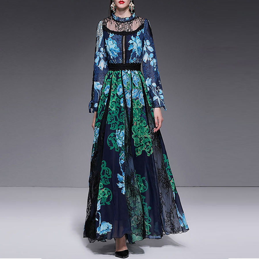 Red RoosaRosee Spring Summer 019 New Women s Long Dresses Print Sexy Lace Water soluble Patchwork