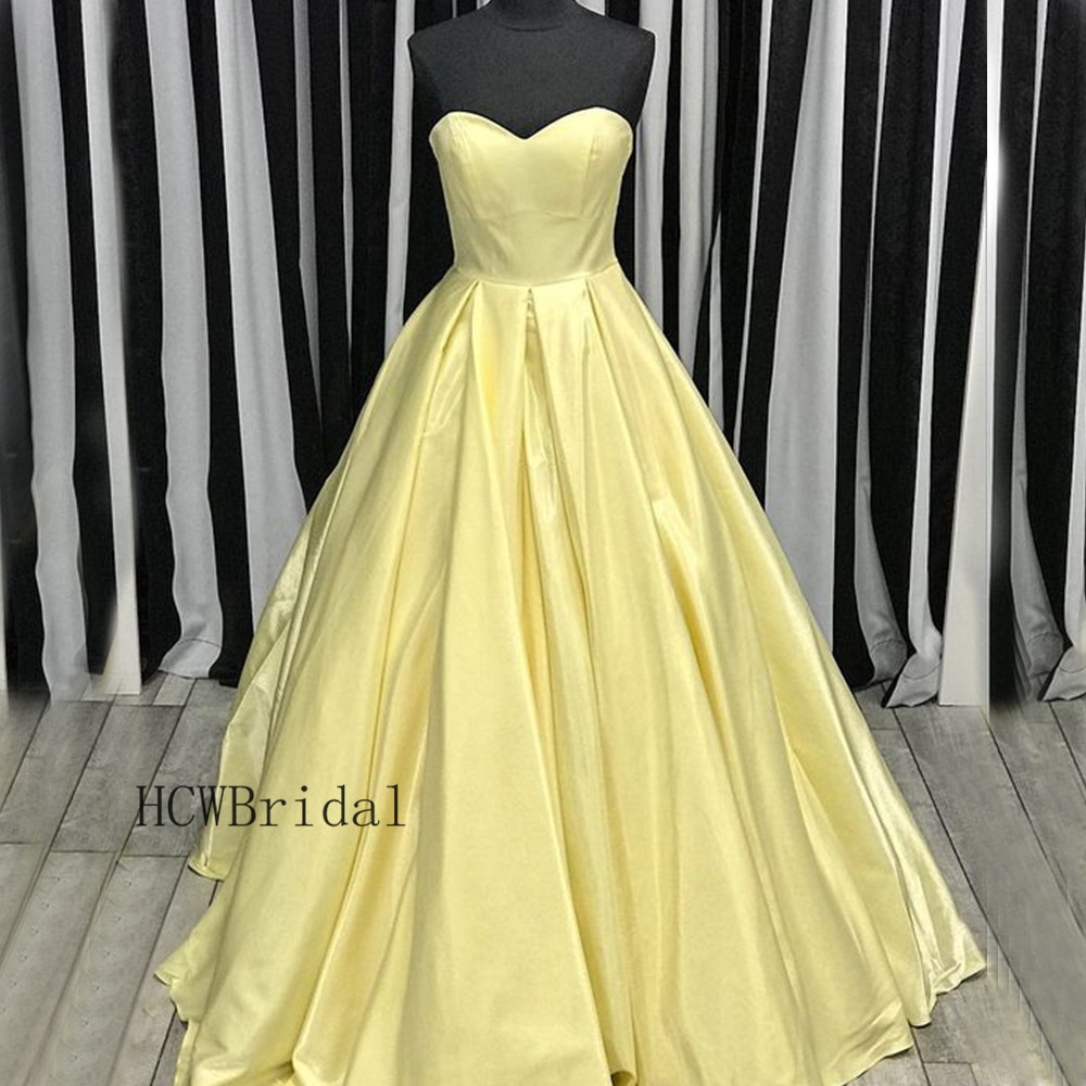 2019 New Light Yellow Satin Princess   Prom     Dresses   Strapless Lace Up Back Custom Made Evening Gown Long Formal Occasion   Dress