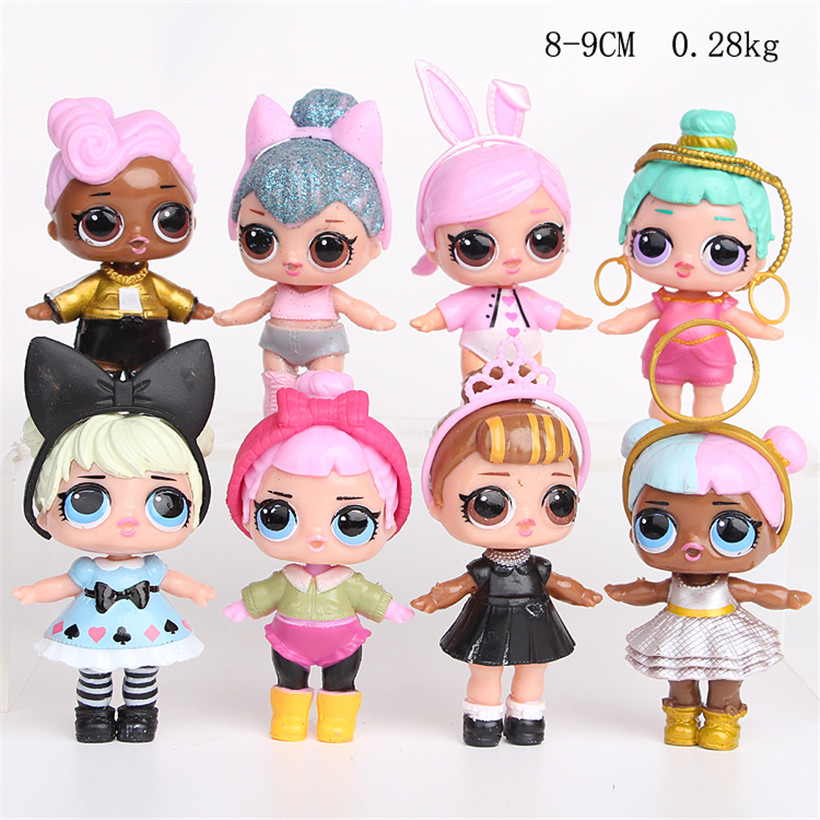 Free shipping 8Pcs/lot 8-9CM action figure lol doll toys Kids lol surprise  doll Dress toys for girls childrn gifts free shipping 2016 new 13pcs set hello kitty action figure anime kids toys kids toys for girls play house toys gifts