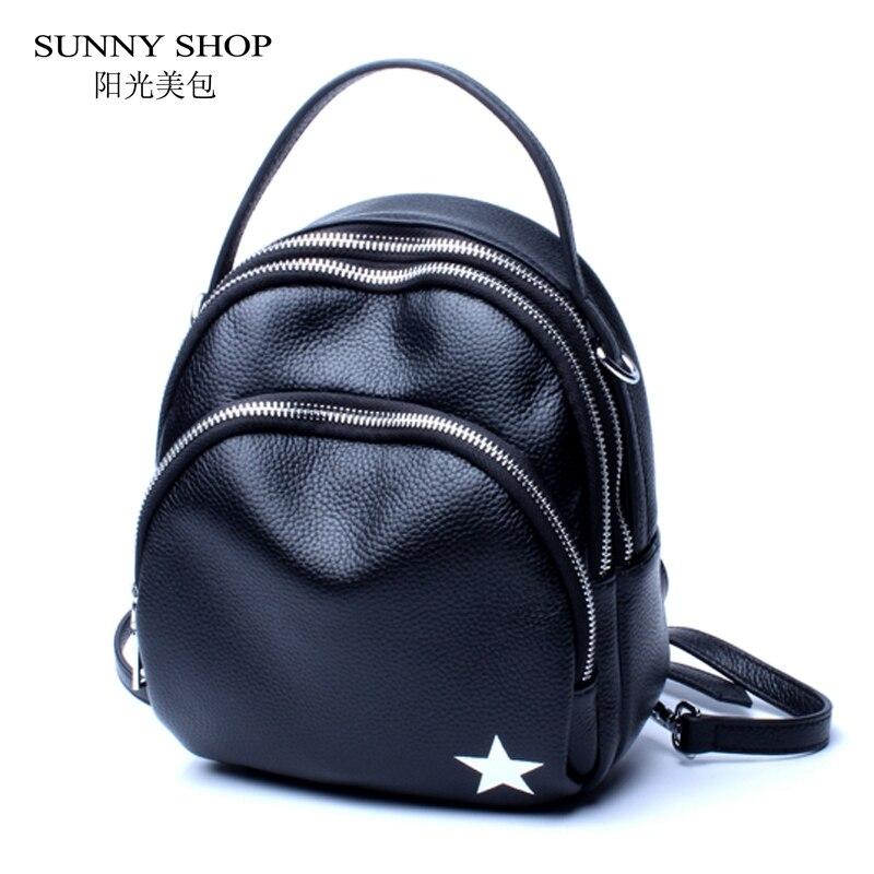 SUNNY SHOP 100% Genuine Leather Backpack Women Casual Mini Backpacks For Teenage Girls Lightweight Solid Bagpack Black Silver недорго, оригинальная цена