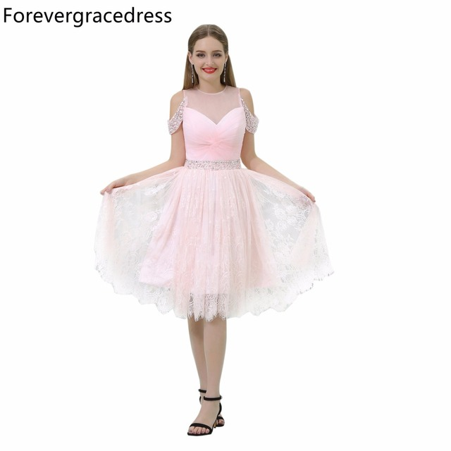 Forevergracedress Pink Short Prom Dress Illusion Neck Beaded Lace ...
