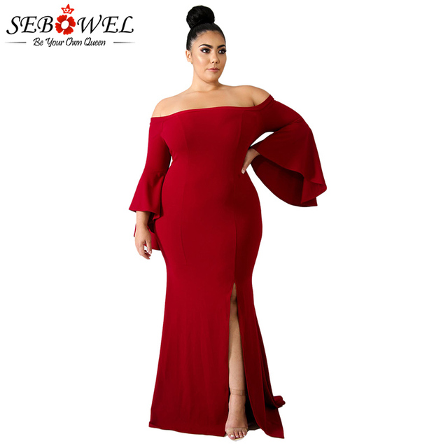 fe658d0e4b5 SEBOWEL Sexy Red Off Shoulder Plus Size Maxi Party Dress Women Elegant Big  Size 4XL Bodycon