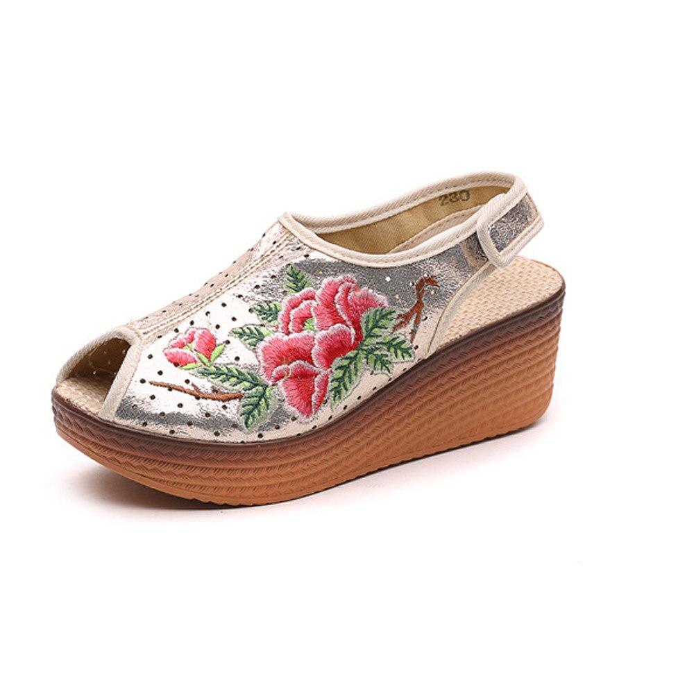 Cuero gris Cuñas Mujer Floral Las Oro Viajes Sandalias Zapatos Toe Vintage Chino Para Bordado Brillantes Peep zOwInwqZA