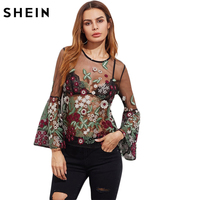 SheIn Summer Embroidery Blouse Black Long Sleeve Sexy Boho Blouse Fluted Sleeve Botanical Embroidered Tulle Top
