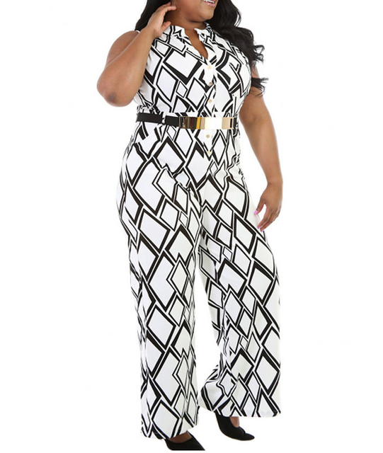 FGirl Caixa de Impressão Perna Larga Jumpsuit Macacão Plus Size Macacão Rompers Womens Jumpsuit Romper FG31329