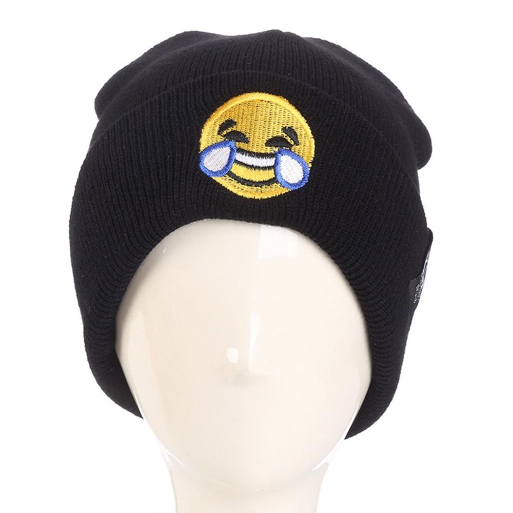 Unisex Winter Warm Hats For Women Emoji Cartoon Knitting Wool hat Outdoor Warm Keeping Flanging Cap cute cartoon bear ms qiu dong the day man with thick warm knitting wool hat sets pointed cap