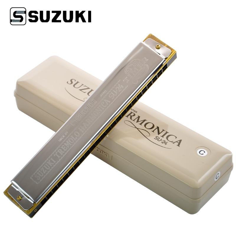 SUZUKI Timer 24-Hole Tremolo Harmonica SU-24 Studying Harmonica mini 10 hole c tone harmonica black golden