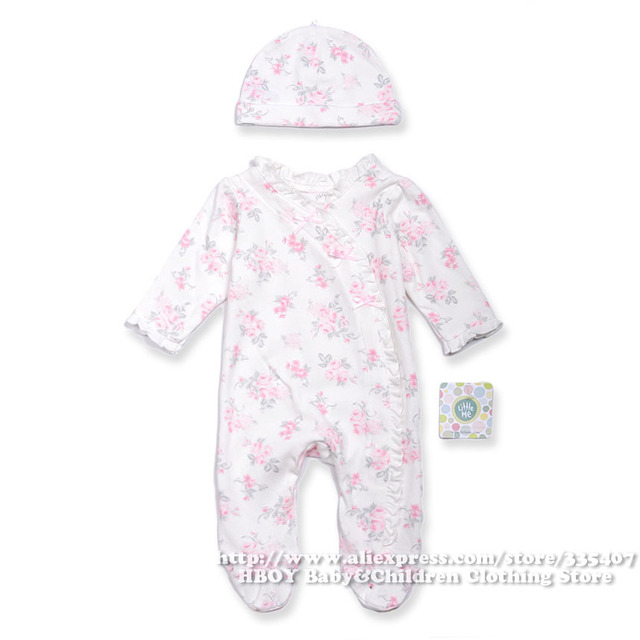 058767d9e 2pcs/set Brand Little me New Baby Girls Baby Clothing sets Original Rompers  Newborn Cute Rose Wear Overalls Cotton Spring Summer