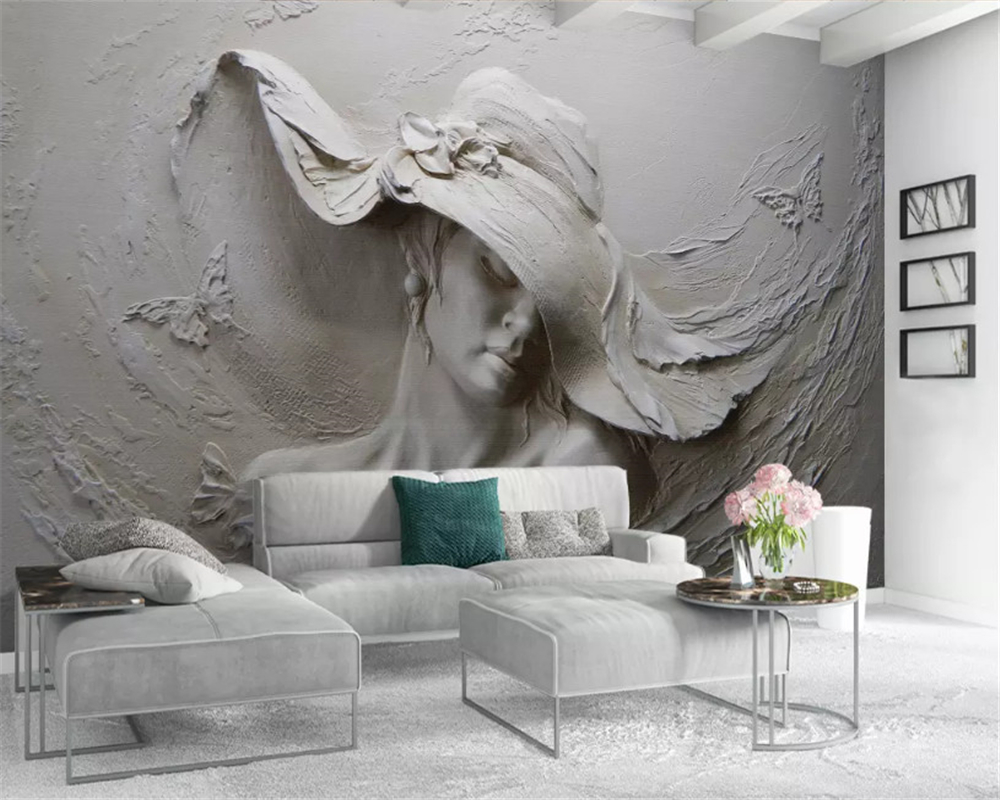 Купить с кэшбэком beibehang Custom size Classic thick silky wall paper three-dimensional embossed beauty background papel de parede 3d wallpaper