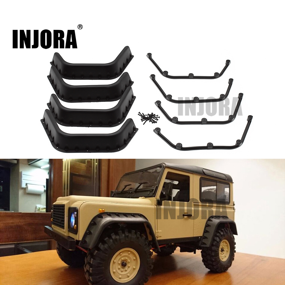 INJORA Black Fender Flares For 1:10 RC Crawler D90 D110 Axial SCX10 Body Shell Parts