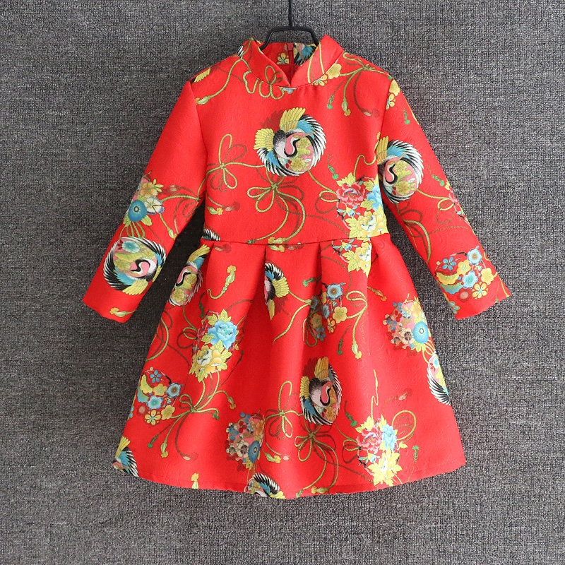 Spring Mother Daughter Dresses Family look clothes Mom and me girl Chinese stand collar full sleeve Dress Mother & Kids Clothing 2016 spring family fashion clothing half sleeve elegant floral print dress clothes for mother and daughter baby girls dresses