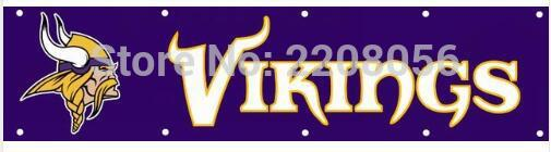 Minnesota Vikings American Flag Banner 8x2ft 100D Polyester Fabric Printed Metal Hole Free Shipping