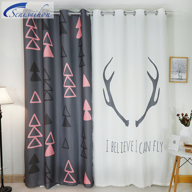 Senisaihon 3d Blackout Curtains Cartoon Simple Japan Antlers Pattern