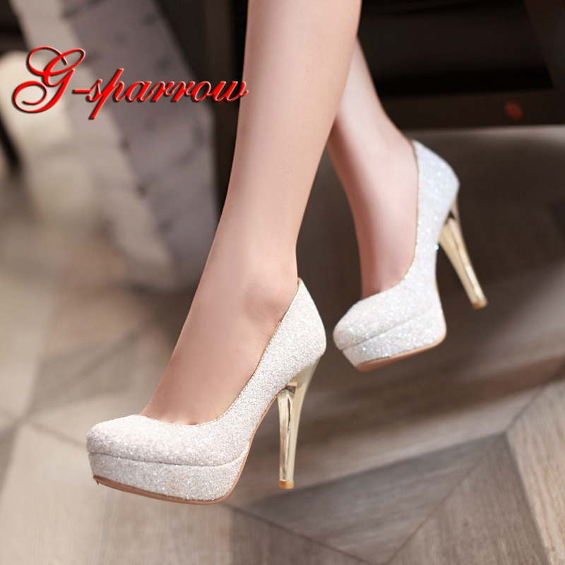 2018 Sequined Cloth Glitter Spring Women Pumps White Gold Black Green Color Wedding Party Prom Shoes Middle High Heel Lady Shoes middle heel silver color wedding shoes glitter women comfortable party prom shoes plus size 43 in stock bridesmaid shoes