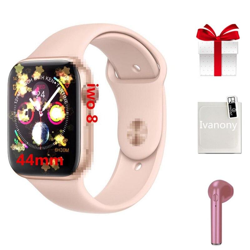 Smartwatch Earphone set 2019 new arrival IWO 8 MTK2502C Red Round Button 44MM Series 4 reloj