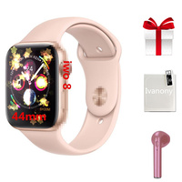 Smartwatch+Earphone/set 2019 new arrival IWO 8 MTK2502C Red Round Button 44MM Series 4 reloj deportivo hombre for iphone 6 7 X