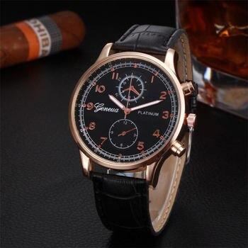 Leather Brand Analog Quartz Wrist Watch Mens Watches