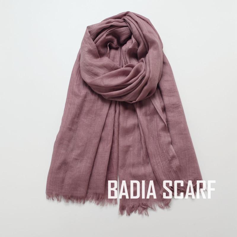 Image 2 - One piece high quality women muslim plain frayed scarf hijab  shawls wraps headwear crinkle solid oversize pashmina hijabsWomens  Scarves