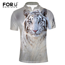 FORUDESIGNS 3D Animal Tiger Printed  Shirt Men Cool Style Summer Males Fashion Streetwear for Teen Boys