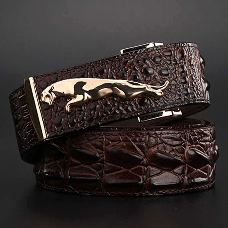 2018 vadonatúj jaguár krokodil stílusú arany öv mérete 120 cm magas minőségű övek divat cowboy designer luxus férfi pánt farmer