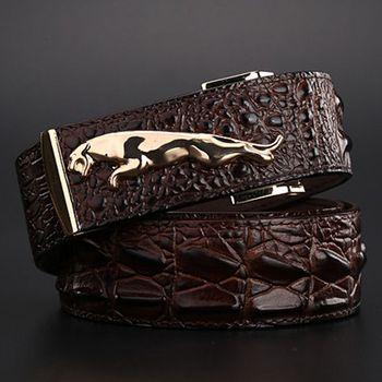 2020 brand new jaguar crocodile style gold belt size 120 cm high quality belts fashion cowboy designer luxury men strap jeans - sale item Belts