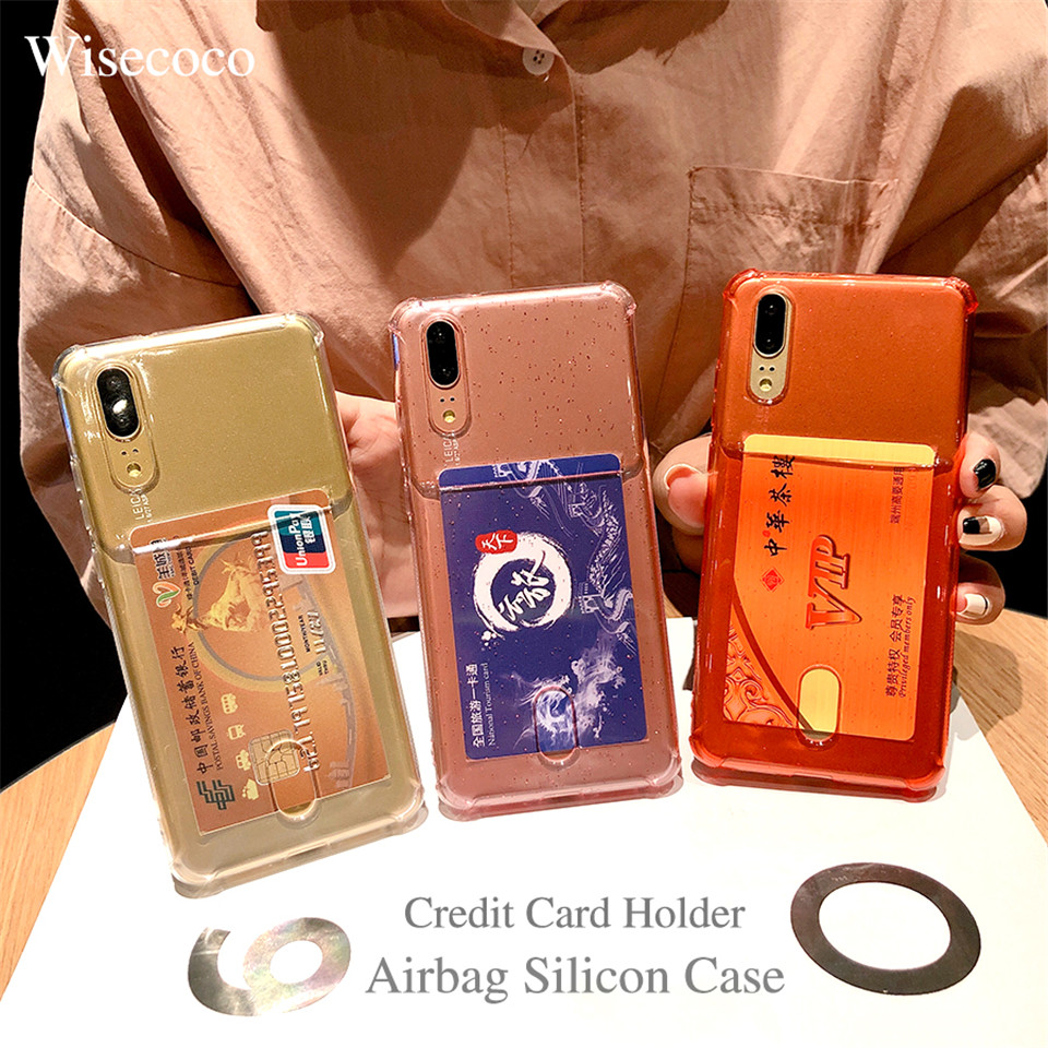 Airbag Silicon Case for Huawei P20 P20 Pro Lite Clear Soft Silicone Credit Card Holder Back