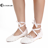 Women Shoes Adult Flats Wedding Shoes Party Large Size 41 47 Pearl Rhinestone Beaded Anklet Lace Up Shoes White Bridesmaid Shoes