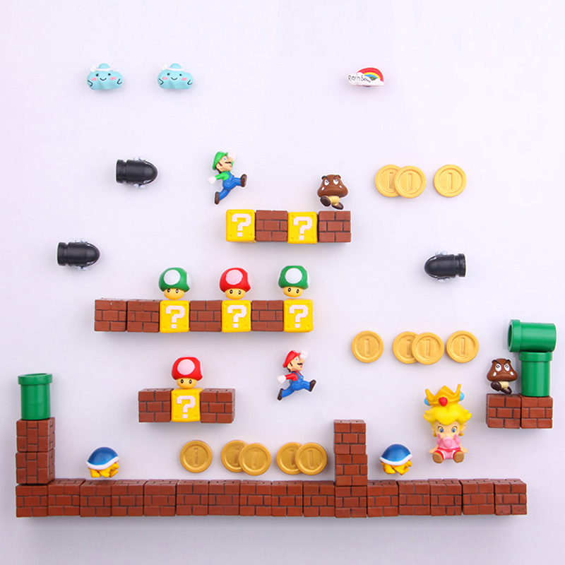 1 Set Mini Super Mario Fridge Magnets Toys Mario Bros Figurine Figura Magnetive Stickers Toys Mario Stickers Refrigerator Magnet