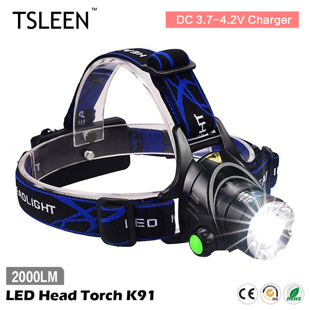 TSLEEN XM-L T6 LED Headlamp 2000LM Rechargeable 18650 Battery Operated Light+AC Charger Cycling Front Light Hunting Camp
