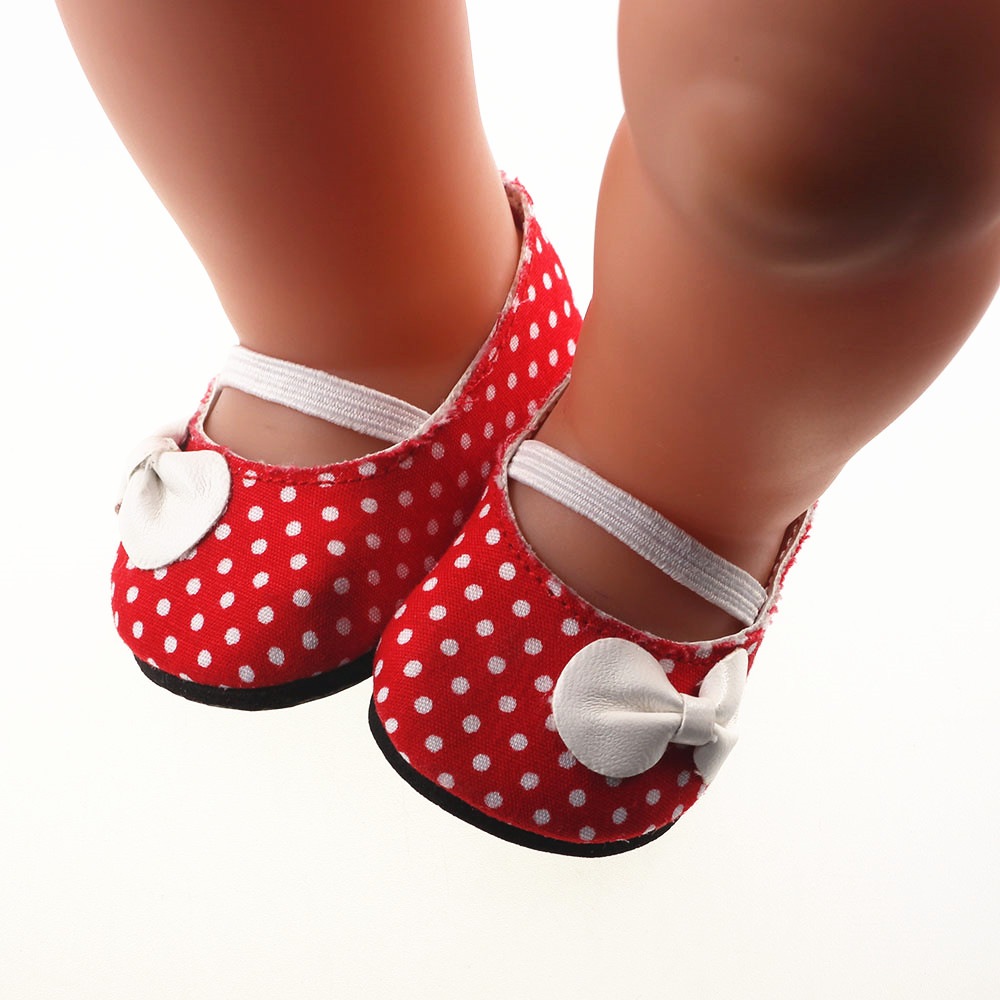 Super cute Red shoes Fit 18 Inch American Girl Doll 43cm Baby Born Zapf Doll Accessories Handmade Fashion shoes rose christmas gift 18 inch american girl doll swim clothes dress also fit for 43cm baby born zapf dolls