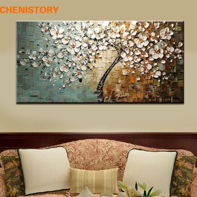 Без рамы расписанную цветок дерево палитры толстые ножи картина маслом на холсте домашний Декор стены для гостиная работа