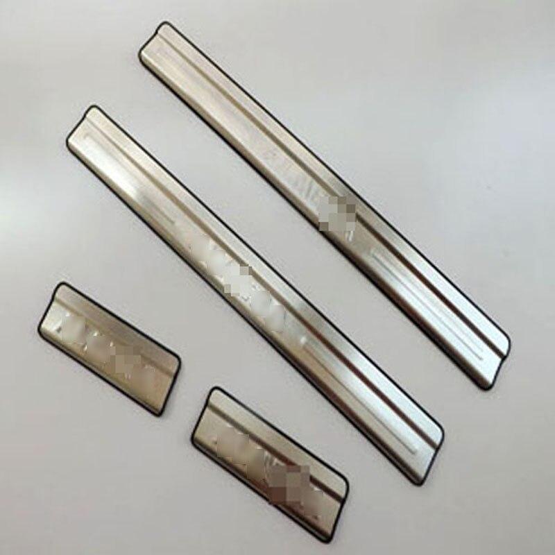 Prix pour Pour Nissan Almera inoxydable porte en acier sill plaques de seuil Almera porte bande seuil 2012 Nouvelle Almera bienvenue pédale 4 pcs/ensemble