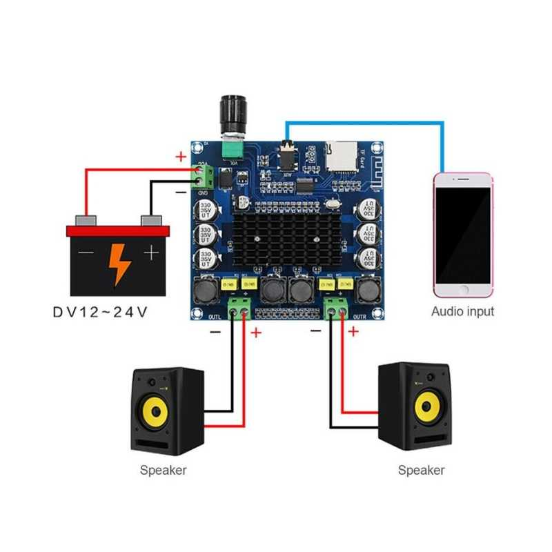Bluetooth 4.1 TPA3116 50W X2 Digital Power Amplifier BOARD 2.0 Stereo Amp Modul Mendukung TF Kartu AUX XH-A104