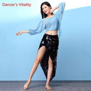 Image 3 - ベリーダンス衣装ホット販売女性ベリーダンスセットトップ & スパンコールヒップスカートパフォーマンスの摩耗スカート