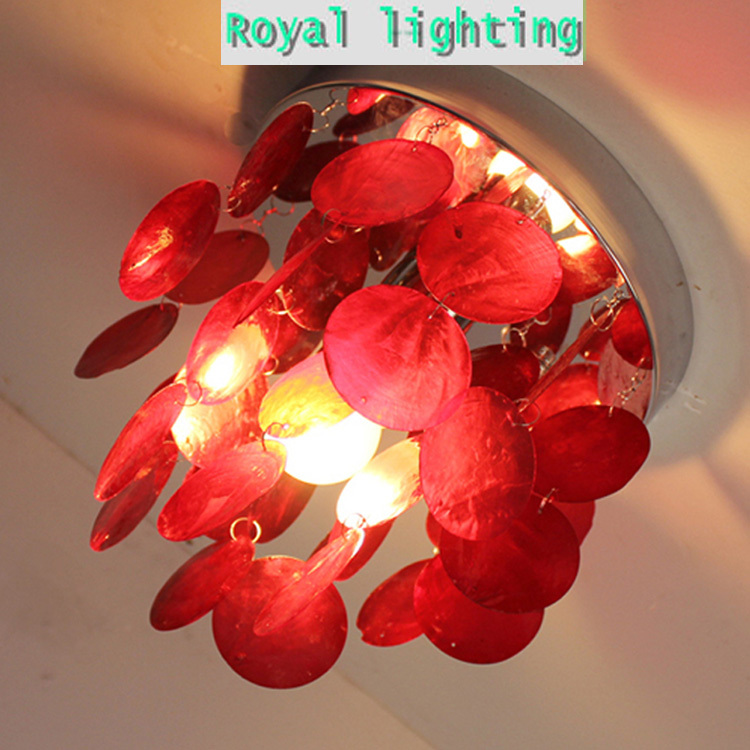 Wholesale price colorful shell ceiling lights hanging light simple modern porch lamp corridor kids children bedroom shell lamps