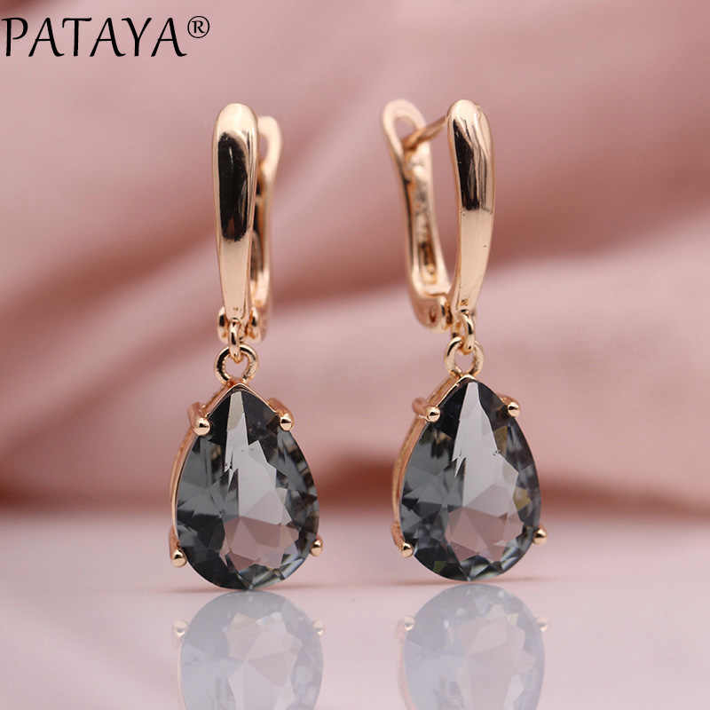 PATAYA New Long Earring For Women Fashion Party Jewelry 585 Rose Gold Moonstone Color Water Drop Natural Zircon Dangle Earrings