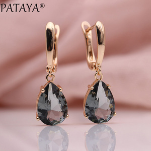 PATAYA New Long Earring For Women Fashion Party Jewelry 585 Rose Gold Moonstone Color Water Drop Natural Zircon Dangle Earrings(China)