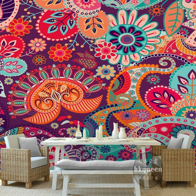 Photo Wallpaper Hand Painted Pattern Abstract Southeast Asian Style
