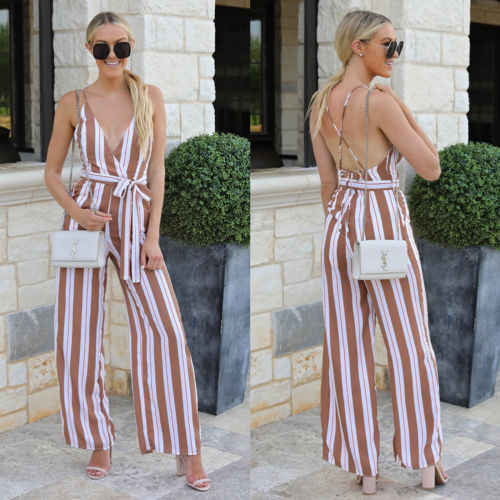 Women Lady Female Striped Sexy Fashion V-neck Loose Backless Belt Jumpsuit Playsuit Bodycon Romper Long Trousers Party Clubwear