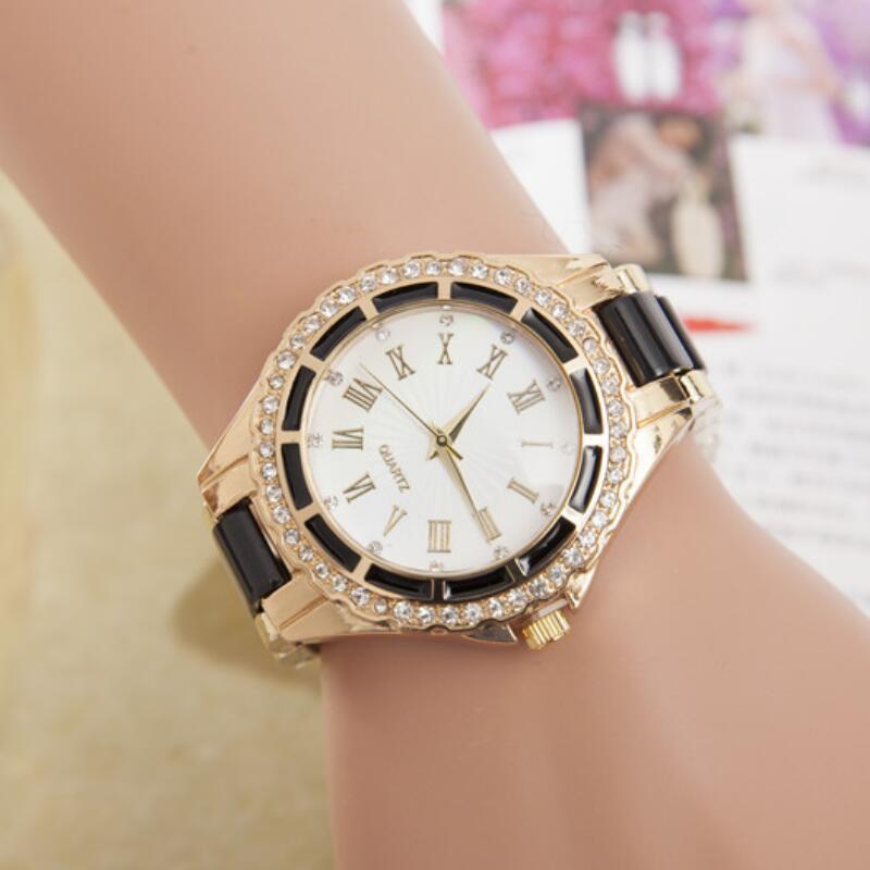 MINHIN Explosion Women 's Quartz Watch Female CZ Diamonds Acrylic Rhinestone Gold Plated Wrist Bracelet Watch Gift Jewelry