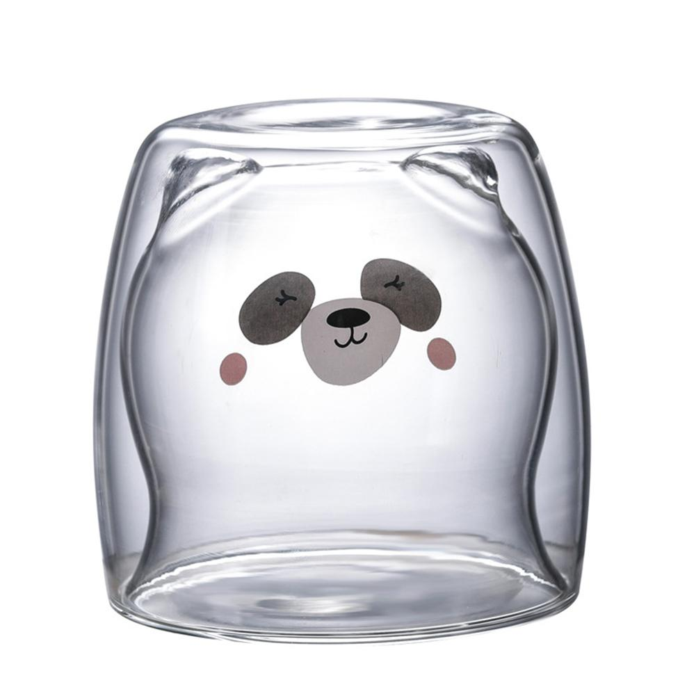 Креативная прозрачная стеклянная кружка с двойными стенками, мультяшный медведь, кошка, утка, кофейная кружка, Молочный Сок, милая чашка, отправить подруге подарок, кошачья лапа, чашка - Цвет: B