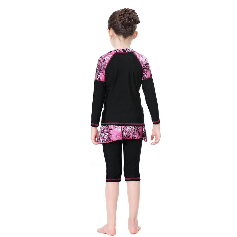 2019 Muslim Girl Swimsuit Kids Conservative Arabian Islamic Swimwear Burkinis Modest Three-piece Plam Tree Print Children