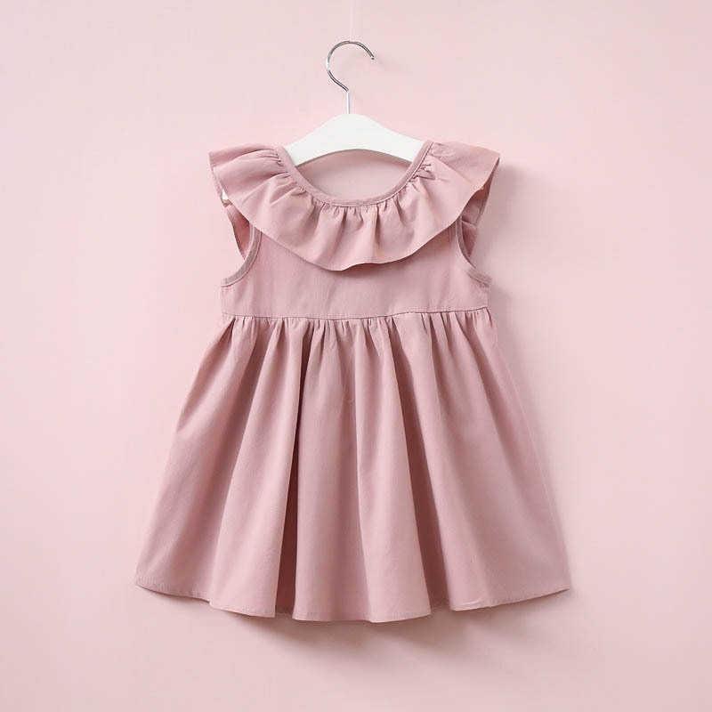 f59c7bc8ef51 ... Verano bebé niñas vestido nuevo 2019 estilo Casual moda Fly Sleeve niñas  arco vestido bebé niña ...