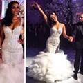 Flouncing 2016 Mermaid Wedding Dresses Spaghetti Straps Ruffles Beaded Crystals Wedding Gowns Sexy Bodycon Arabic Bridal Dress