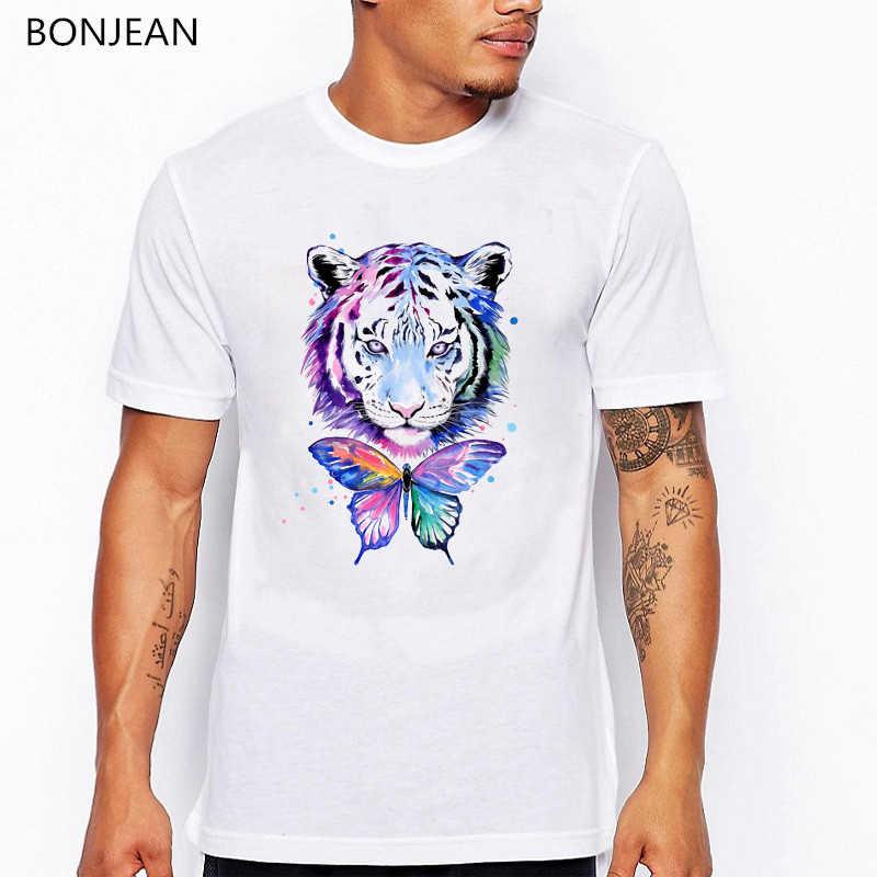 Màu Nước hổ bướm in hình động vật thun nam trắng Ngộ Nghĩnh T Áo sơ mi camiseta Hombre mùa hè Áo Thun Thời Trang Nam dạo phố