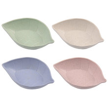 4Colors Creative Wheat Straw Plates Natural Degradation Leaf Shaped Plate Sauces Snacks Vinegar Dish Kitchen Supplies
