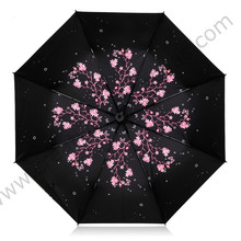 Купить с кэшбэком Three fold sunscreen umbrella five times black coating anti-uv alloy fiberglass superlight Sakura cherry flower shopping parasol