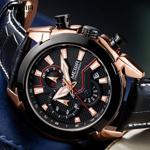 Image 3 - MEGIR Mens Fashion Sports Quartz Watches Leather Waterproof Luminous Chronograph Wristwatch Clock Relogios Masculino 2065 Rose